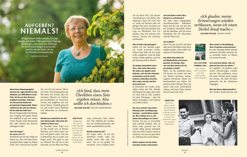 magazin anders handeln heft 03 2020 juliane koepcke diller interview01 von doris ehrhardt textett muenchen 1024x652 - Interview: Juliane Koepcke über Durchhaltewillen