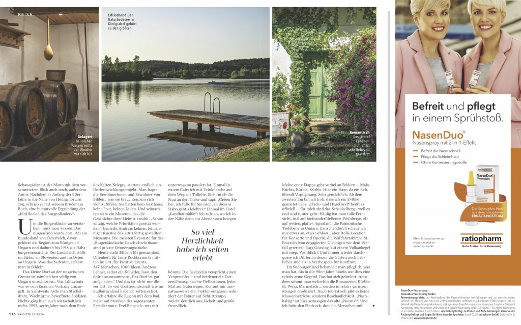 magazin brigitte 20 2020 reise reportage suedburgenland oesterreich radtour03 doris ehrhardt textett portfolio muenchen 1024x638 - Radeln im Burgenland