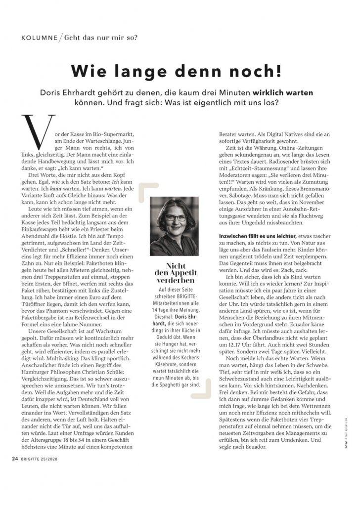 magazin brigitte 25 2020 kolumne warten koennen doris ehrhardt portfolio textett 724x1024 - Kolumne: Na wartet!