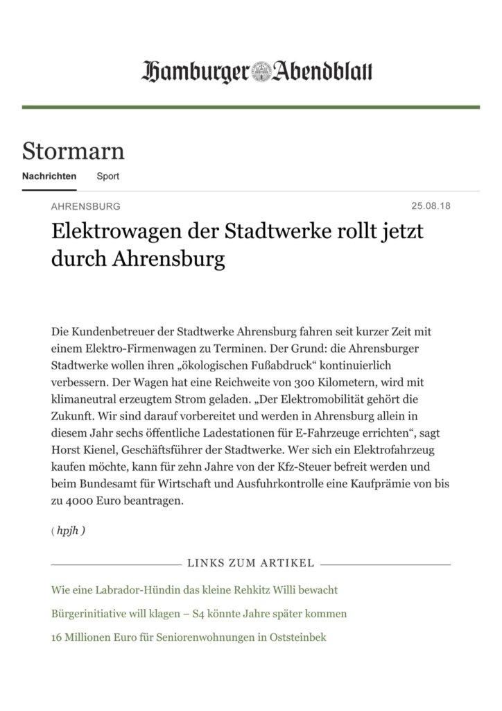 Pressemitteilung Elektrowagen der Stadtwerke rollt jetzt durch Ahrensburg Stormarn Hamburger Abendblatt Kopie 724x1024 - Pressemitteilung Elektrowagen